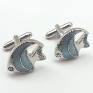 blue fish cufflink