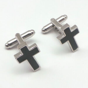 cross in black cufflinks
