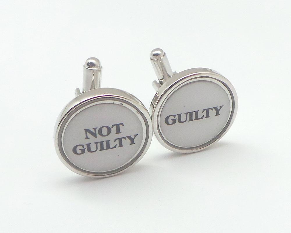 guilty not guilty cufflink