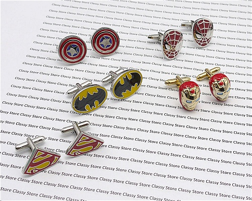 5 colored superhero cufflinks