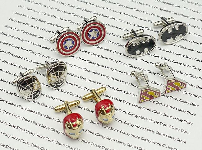 5 superhero cufflink sets