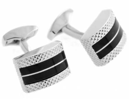 Tateossian Leather D-Shape Black Cufflinks