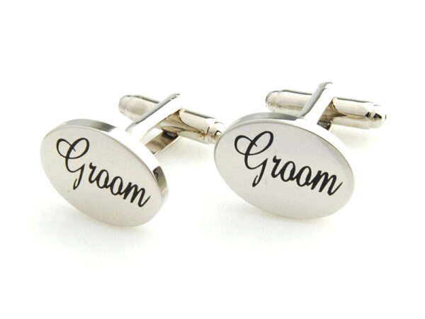 groom cufflinks silver