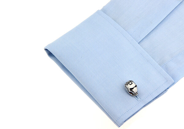 iron man cufflink on cuff shirt