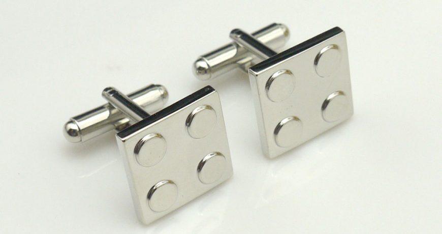silver lego cufflinks